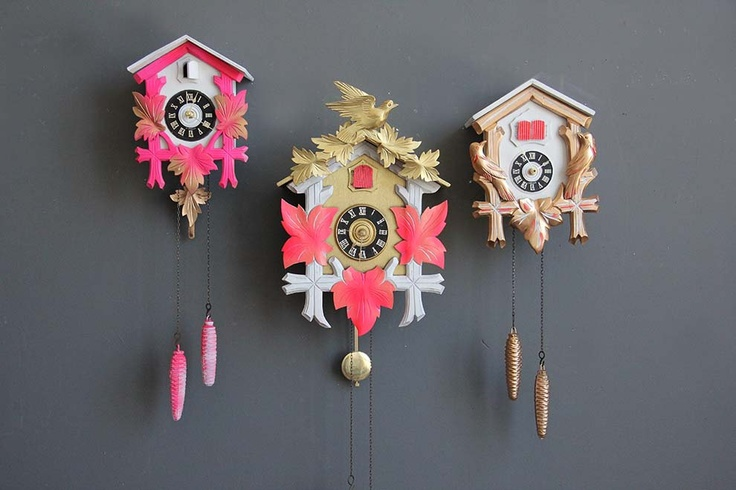 Neon Pink & Gold Cuckoo Clock. Working Condition. $155.00, via Etsy.