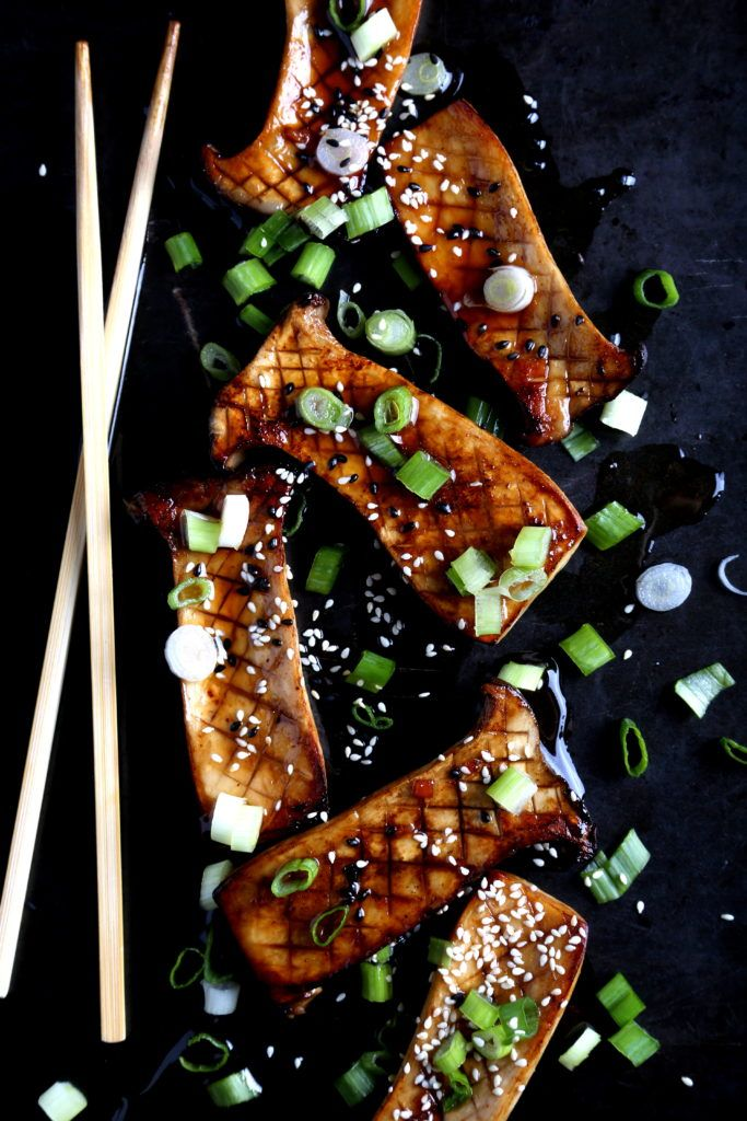 Seared King Oyster Mushrooms with Homemade Teriyaki Sauce  ** gorgeous presentation **
