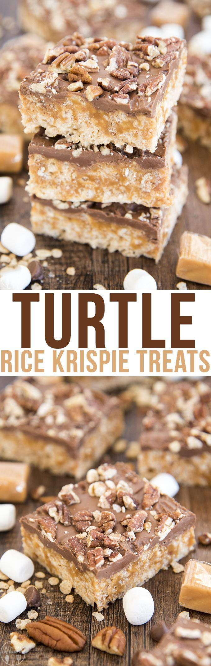 These turtle rice krispie treats have marshmallow rice krispie treats topped with a melty caramel layer, rich chocolate and crunchy salty pecans! They're an amazing sweet and salty treat.These bars are rich and perfect for sharing!