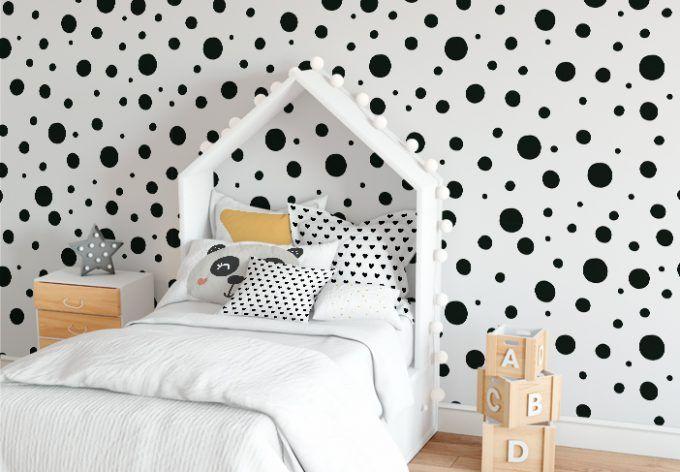 Spiksplinternieuw Zwarte stippen behang voor kinder-/ babykamer (met afbeeldingen VQ-68