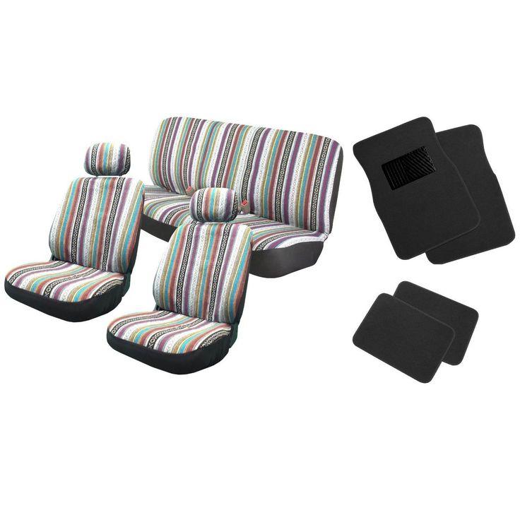 Unique 12pc Saddle Blanket Seat Covers w/Black Floor Mats Bench - Honda Civic (Color)