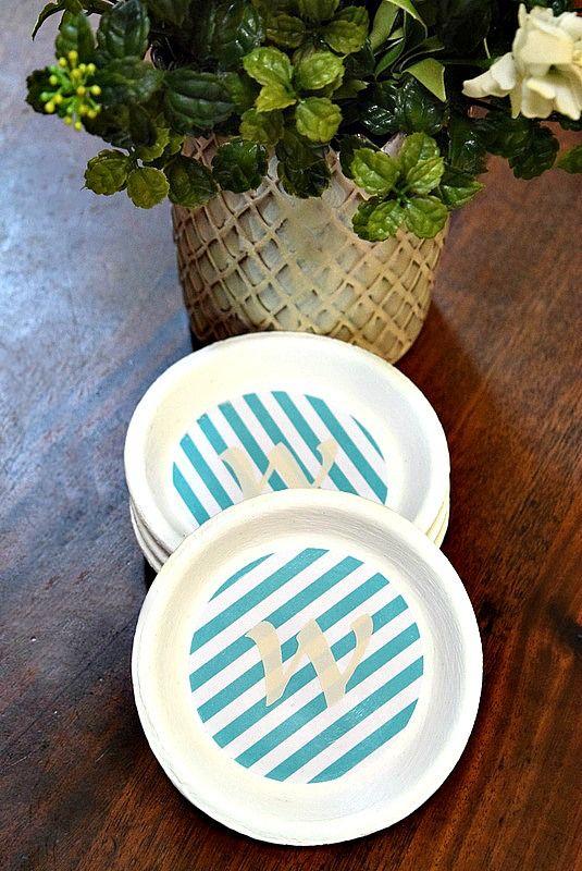 Monogrammed Coasters From Terra Cotta Flower Pots