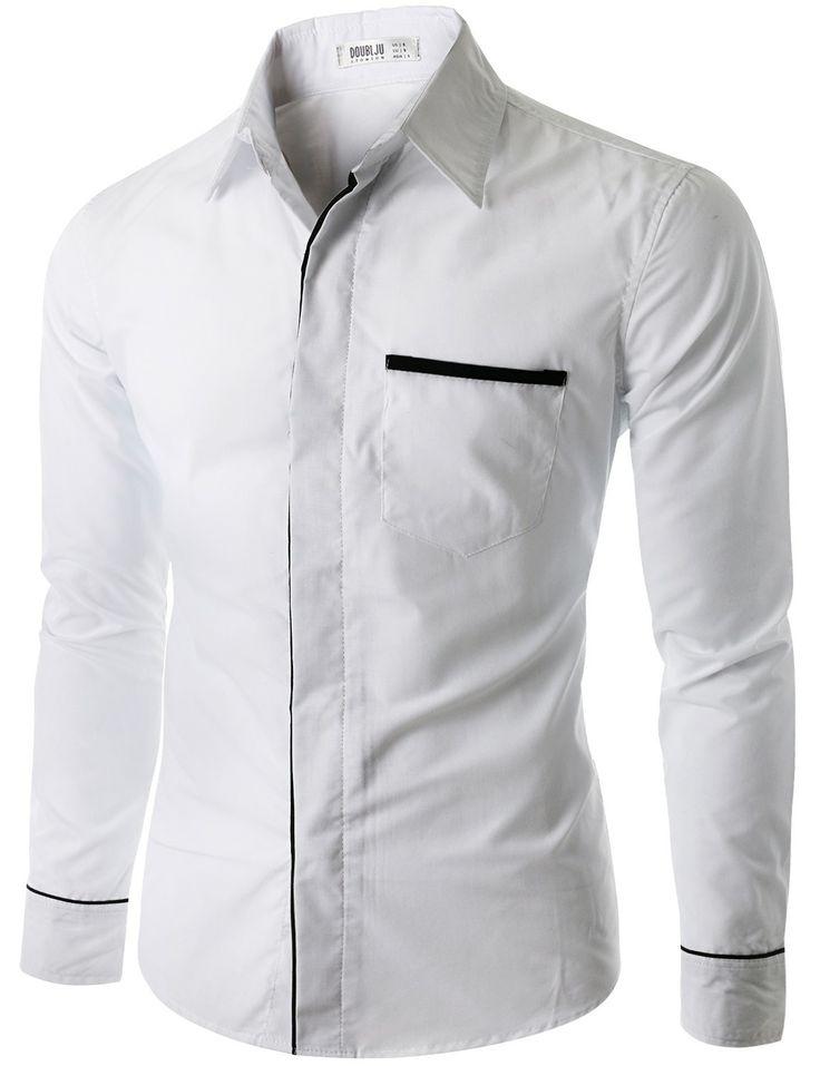 $29.99 Doublju Men's Button Down Casual Shirt with Placket Detail  (CMTSTL011)