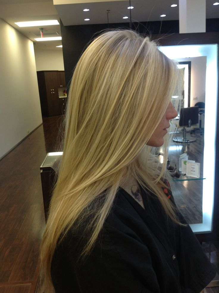 Blonde pattern matching highlights with a long layered cut ...