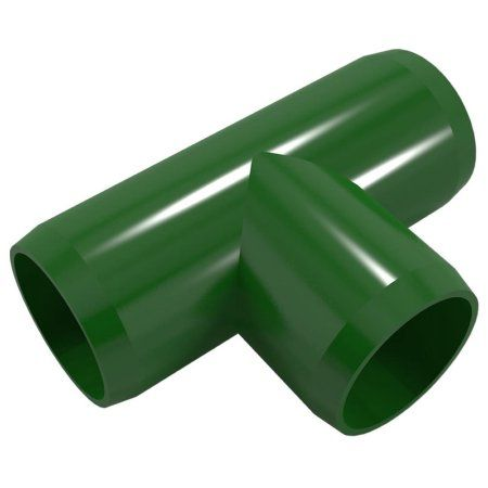 PVC Pipeworks 1 inch Tee PVC Furniture Grade Fitting in Green - Standard T (4-Pack)