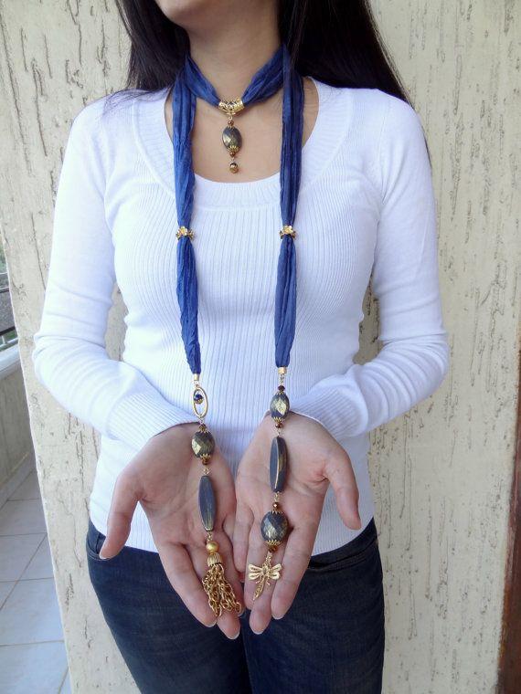 Blu gioielli sciarpa sciarpa collana Collana oro di sevinchjewelry