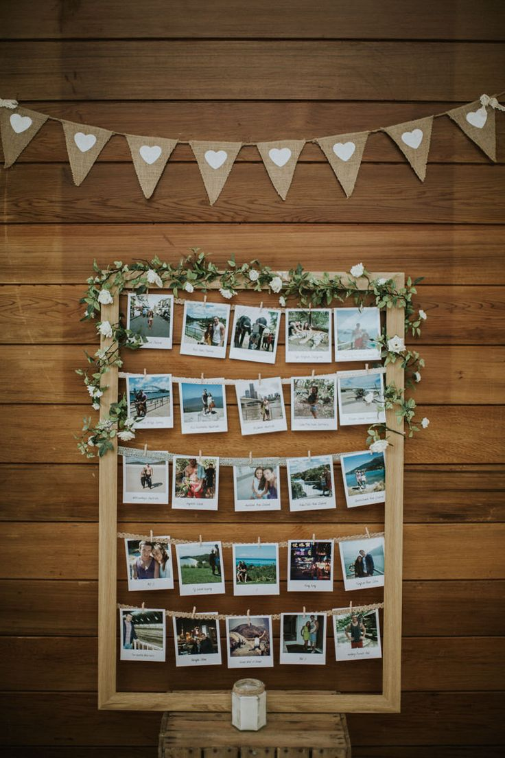 Photo Wall Frame Flowers Creative DIY Rustic Lavender Wedding http://www.nataliepluck.com/