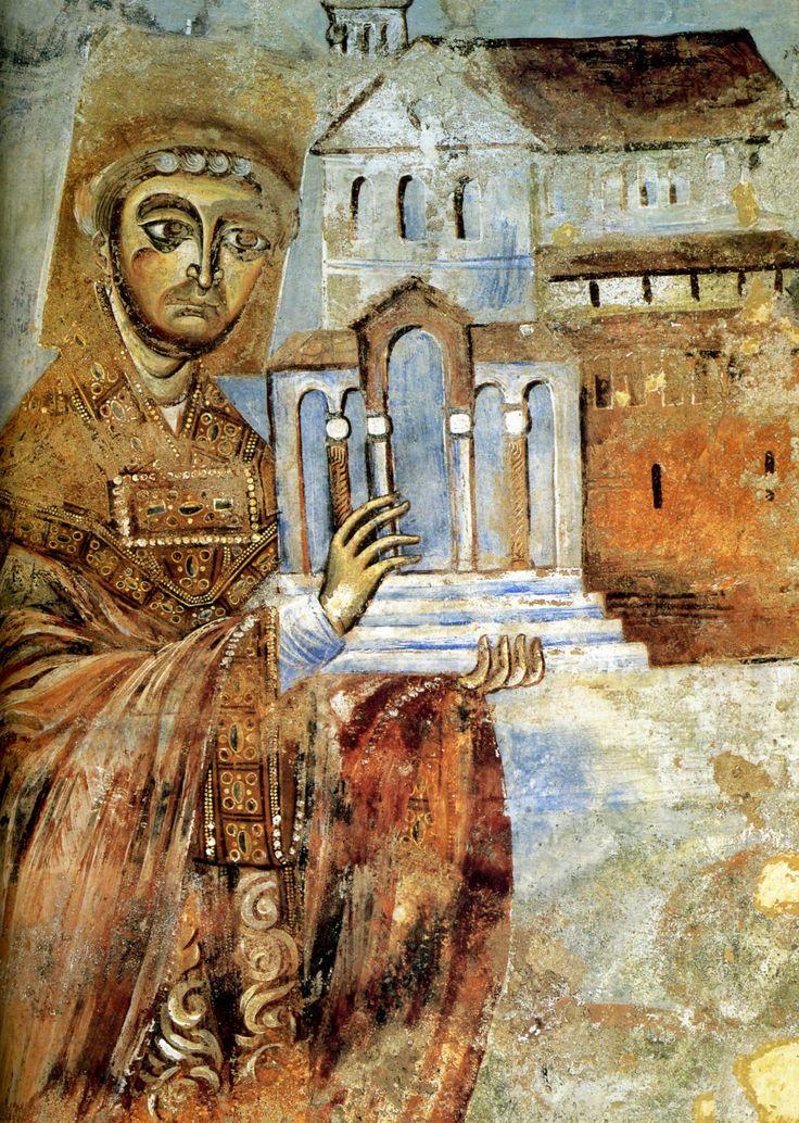 Abt Desiderius met het kerkmodel ~ Fresco uit de apsis van de S. Angelo in Formis bij Capua ~ 1072-1087