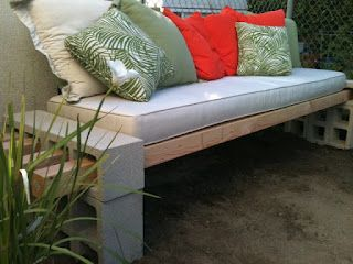 Oh my gosh!  No hammers, nails or drill!!! DIY Outdoor Bench - in less than an hour using cinder blocks and boards. Cheap and EASY! Get cushions from used furniture shop or old couch being thrown away and cover with sheets which you can just pin together.