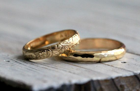 His and Hers -Modern Hammered & Classic Vine Renaissance Pattern 14K Gold Filled Engagement Ring Set w Secret Message - Modern Meets Classic