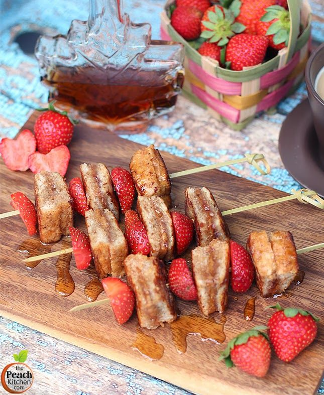 almond butter and strawberry jam french toast on a stick | www.thepeachkitchen.com