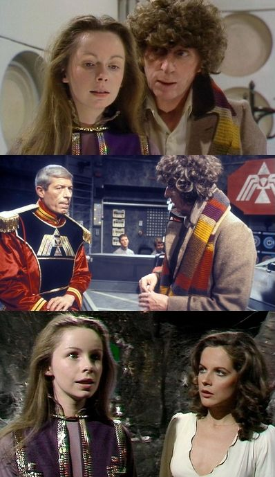 The Armageddon Factor. Lalla Ward first appears as Princess Astra. John Woodvine as The Marshal with Leela & Doctor Who