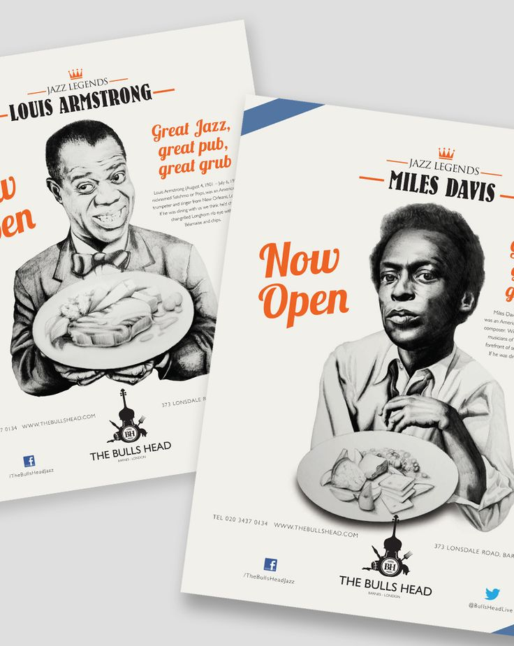 Posters for iconic jazz venue The Bulls Head: jazz and food | photo from www.archcreative.co.uk