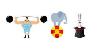 Circus vastgestelde elementen Uitstekend strongman circus Retro atletenverstand Stock Fotografie