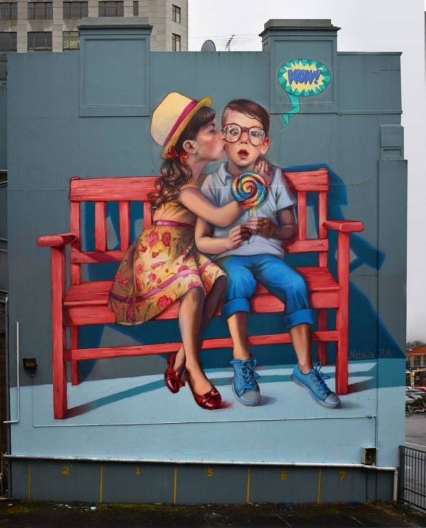 Adorable street art seen in New Zealand. Created by artist Natalia Rak.