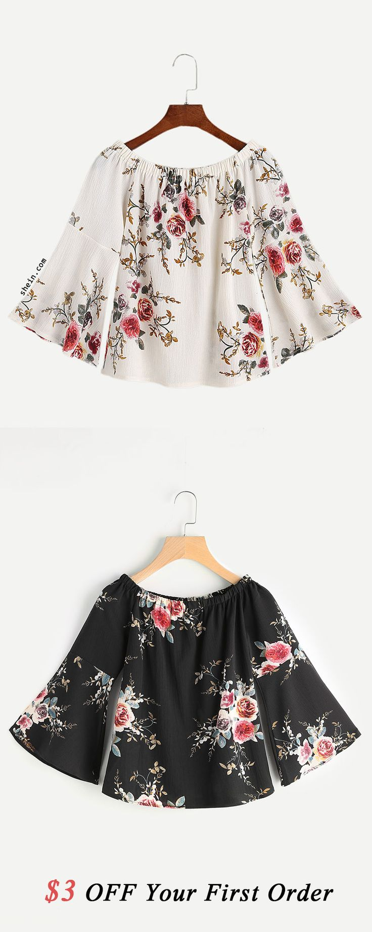Florals Boat Neck Bell Sleeve Top