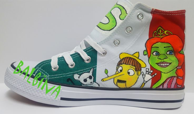 Fiona and Pinocchio from Shrek   - hand painted trainers  https://web.facebook.com/Balbina-R%C4%99cznie-malowane-buty-i-ubrania-hand-painted-shoes-and-clothes-849793331796229/?ref=aymt_homepage_panel