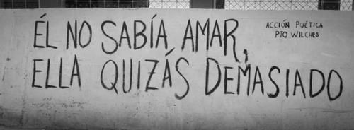 He didn't know how to love, she, maybe too much.  accion poetica