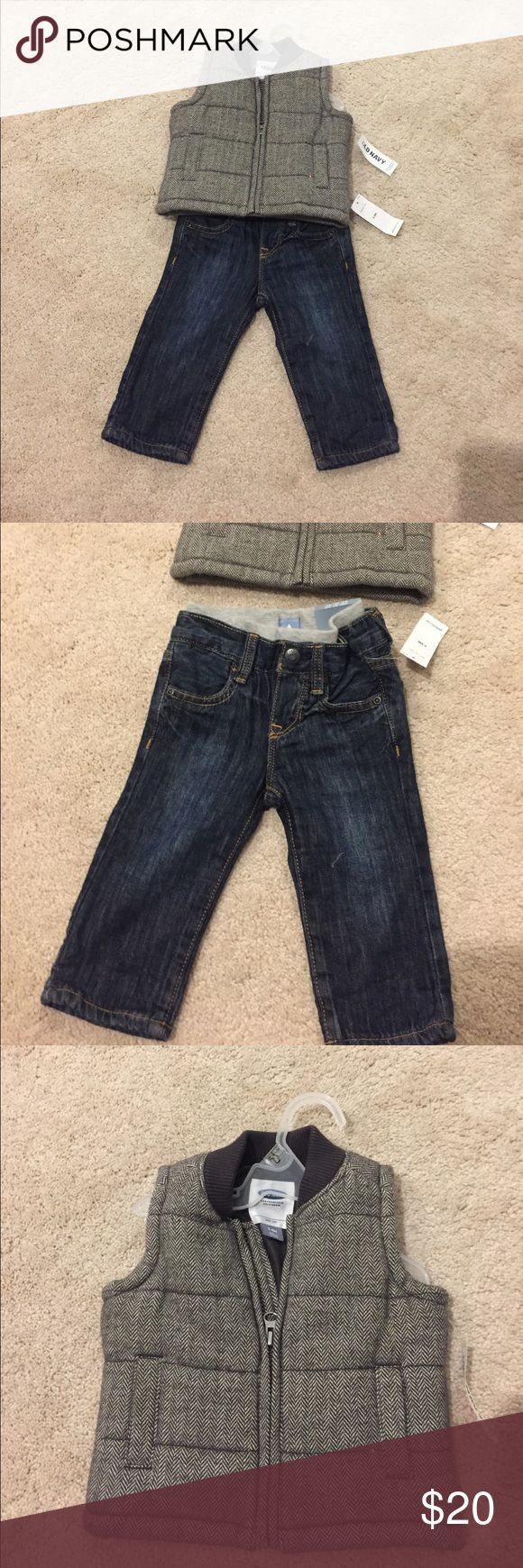 Boys old navy vest and  baby gap jeans 3-6 months New never worn items.. pants have lining (gapfactory) and vest on the thicker side perfect for the fall! Old Navy Jackets & Coats Vests