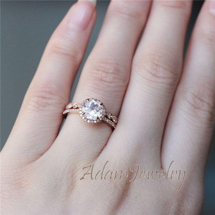 14k Oro Rosa 7mm Morganita anillo de compromiso conjunto anillo de boda o aniversario, Anillo