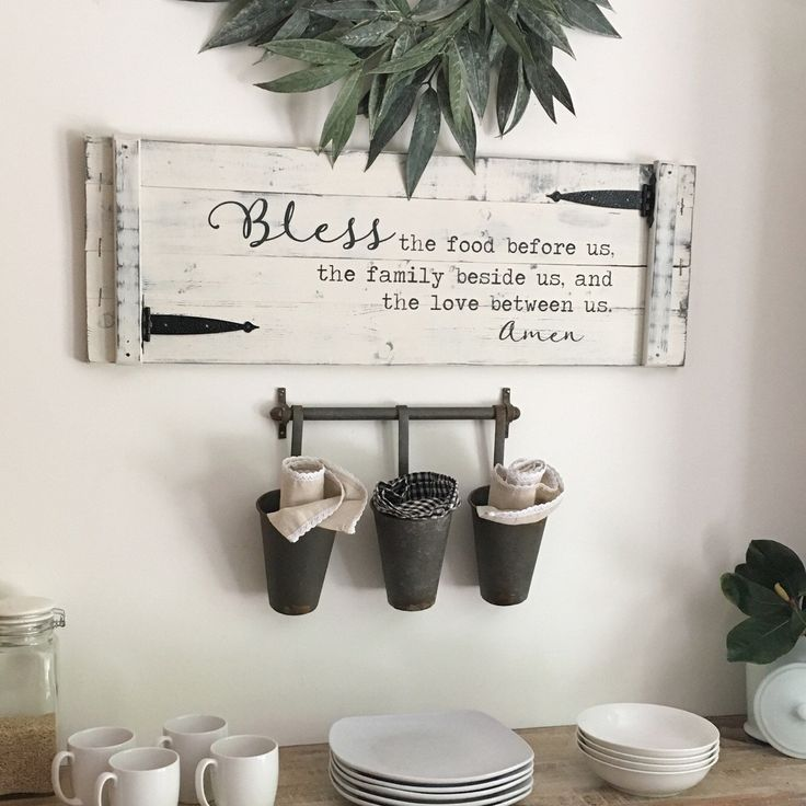 #ad BLESS THE FOOD before us 36x12 sign rustic - white farmhouse sign with barn door hinges - farmhouse wall decor - farmhouse sign for kitchen - farmhouse decor for dining room - love this rustic bless the food sign for a farmhouse style dining room - fixer upper style