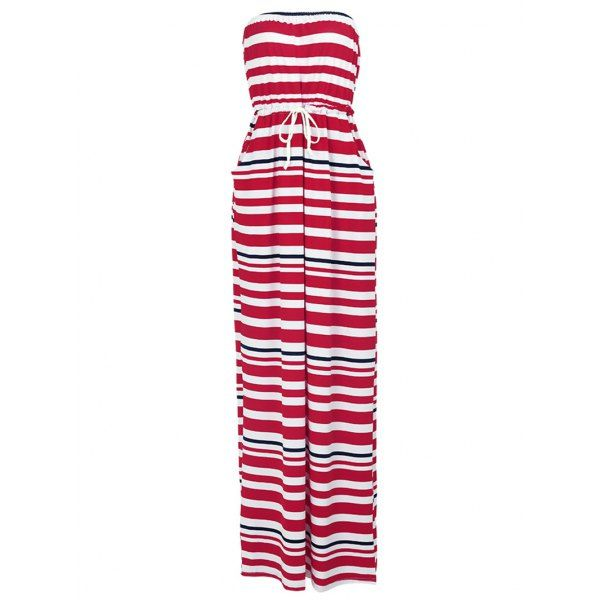 Stylish Drawstring Waist Strapless Striped Women's Maxi Dress #jewelry, #women, #men, #hats, #watches, #belts