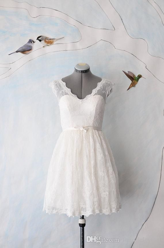 Bridal Gowns Uk Short White Wedding Dresses V Neck Short Sleeve Zipper A Line Sweep Train Little White Dresses Custom Made Lace Beach Bridal Gowns Jessica Mcclintock Wedding Dresses From Funiuleleyexu, $73.51| Dhgate.Com
