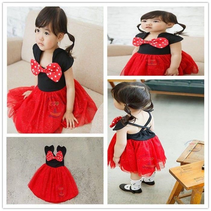 Free shipping little girls Princess Dress summer 2015 Black Red Minnie Dress princess dress Tulle backless Dress Princess Dress