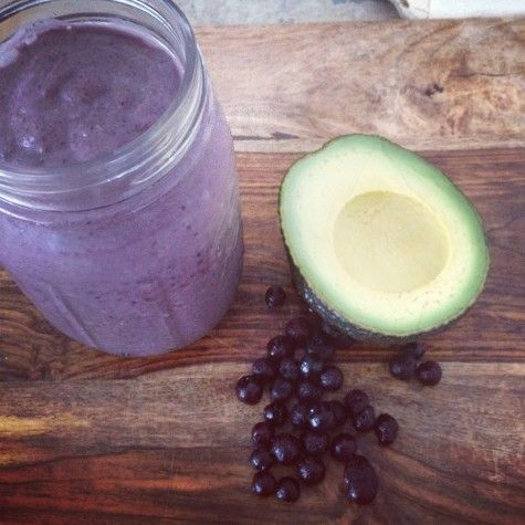 The Plant Power Breakfast Smoothie  Recipe Found @ www.wellandgoodny...  Blend and enjoy!    4 kale leaves  1 cup organic frozen blueberries  2 Tbs of chia seeds  1 Tbs organic peanut butter  1/2 avocado  1 cup coconut milk  1 Tbs raw honey  2–3 ice cubes  Squeeze of lemon, optional