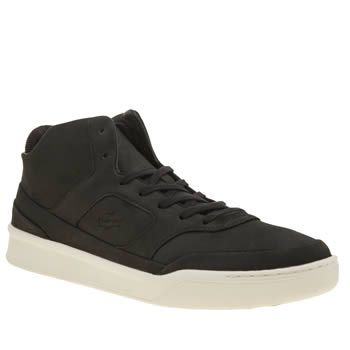 Lacoste Black Explorateur Mid Mens Trainers Lacoste take their slick style to some new heights as the Explorateur Mid arrives. Dressed in all-black nubuck, this sporty profile features a padded ankle collar for ultimate comfort. Debossed brandi http://www.MightGet.com/january-2017-13/lacoste-black-explorateur-mid-mens-trainers.asp