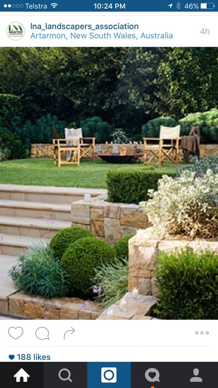 Terraced garden beds next to steps