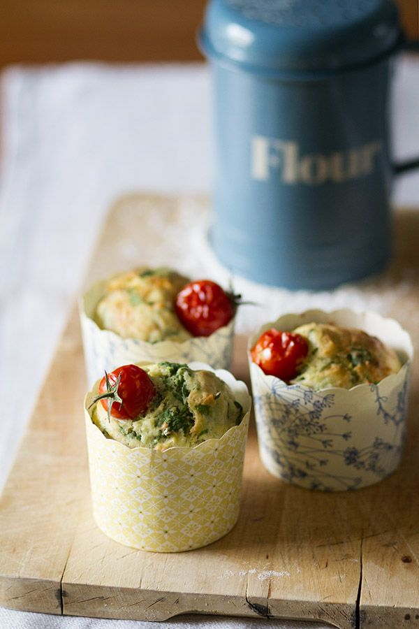 Muffins salados de parmesano y espinacas.