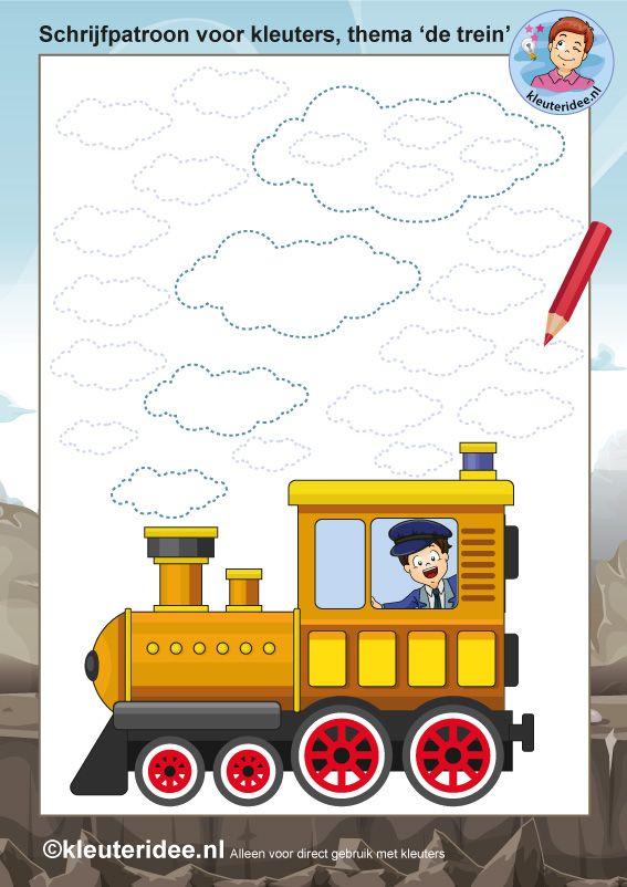 schrijfpatroon voor kleuters, thema de trein, kleuteridee.nl, free printable.