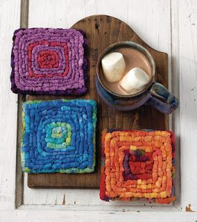 """The easiest project you can locker hook is a coaster. Here's a trio I made when working on the """"Locking Loops"""" book. Quick, colorful and fun to make. The two lower coasters are made on 3.75 Mesh canvas. Top is 5-mesh.  Theresa Pulido at colorcrazy.com"""