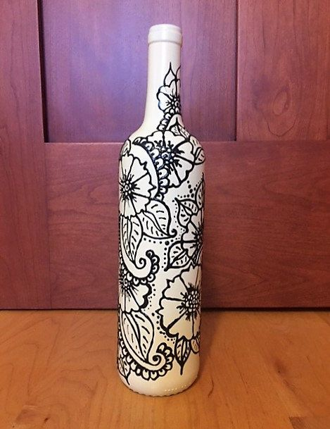 Hand Painted Henna-Style Wine Bottle Vase от JulienCreations