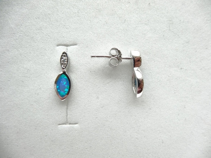 $16 Blue Opal Italian Sterling Silver Earrings, info@bijuterie-online.ro.