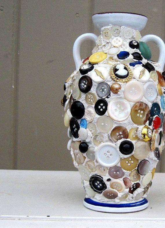 Vintage Mosaic Button Vase  Eclectic Unique by rushcreekmosaics