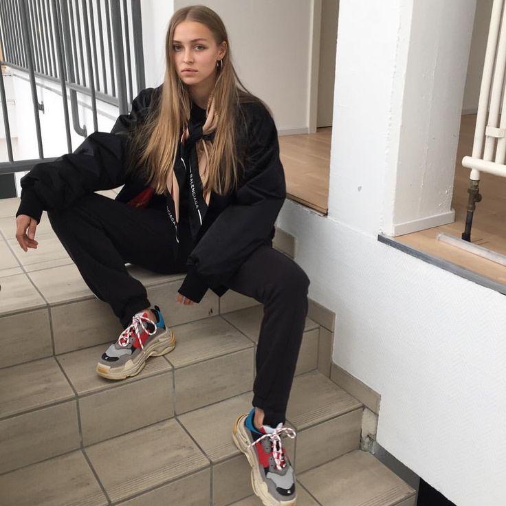 balenciaga triple s  black bomber jacket how to wear