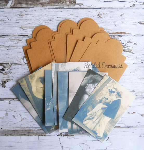 Kraft Tags and Vintage Ladies & Gents Tags Ephemera  DIY Kit