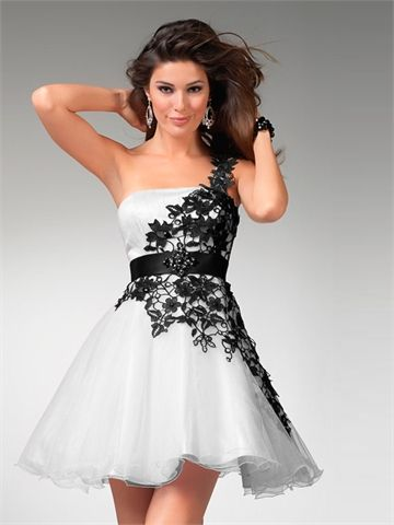 One Shoulder With Appliques and Nice Sash Short A-line Tulle Prom Dress PD1285 www.tidedresses.co.uk $149.0000