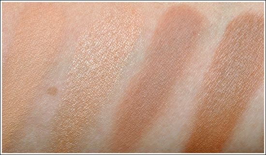 MAC Eyeshadow Swatches -left to right: Bamboo, Arena, Soft Brown ...