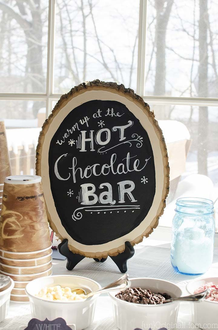 Hot Chocolate Bar with a hand lettered sign                                                                                                                                                                                 More