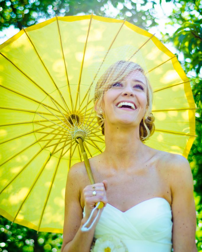 Elegant Bride with Yellow Umbrella on a sunny day