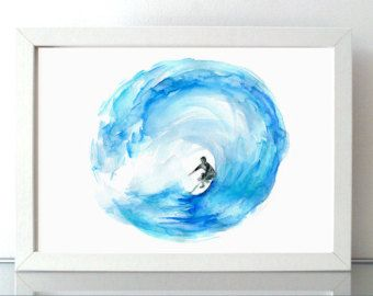 Surf watercolor painting  Giclee print Surf art surfboard