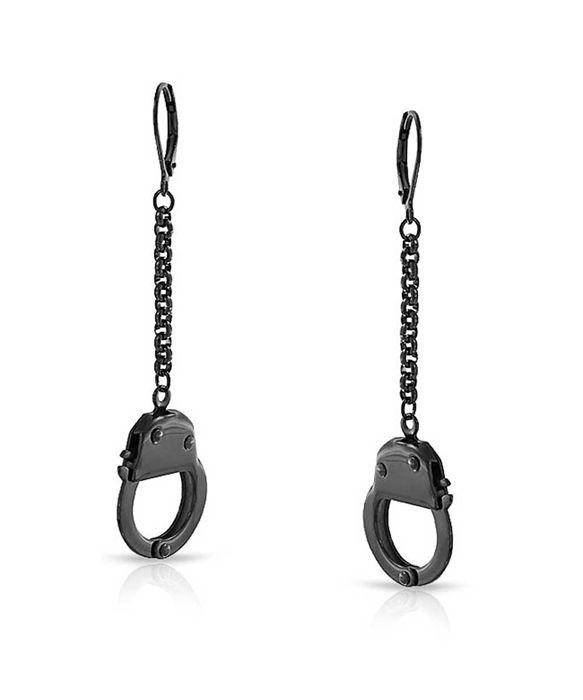 Bling Jewelry Secret Shades Black Steel Leverback Handcuff Earrings