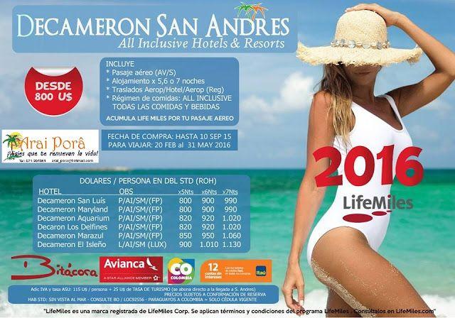ARAI PORÂ - Viajes y Turismo: ¡VIAJES QUE TE RENUEVAN LA VIDA!: Decameron San Andrés 2016