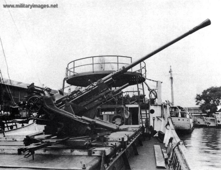 A gun installed on a landing barge.