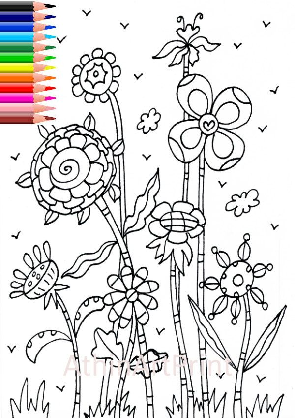 Coloring Page, Adult Coloring, Printable Colouring Page, Coloring Page Flowers, Digital Coloring Page, Kids Coloring Pages, INSTANT DOWNLOAD by AthinArtPrint on Etsy