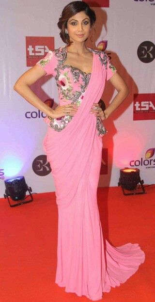 Shilpa shetty in saree gown and corset blouse