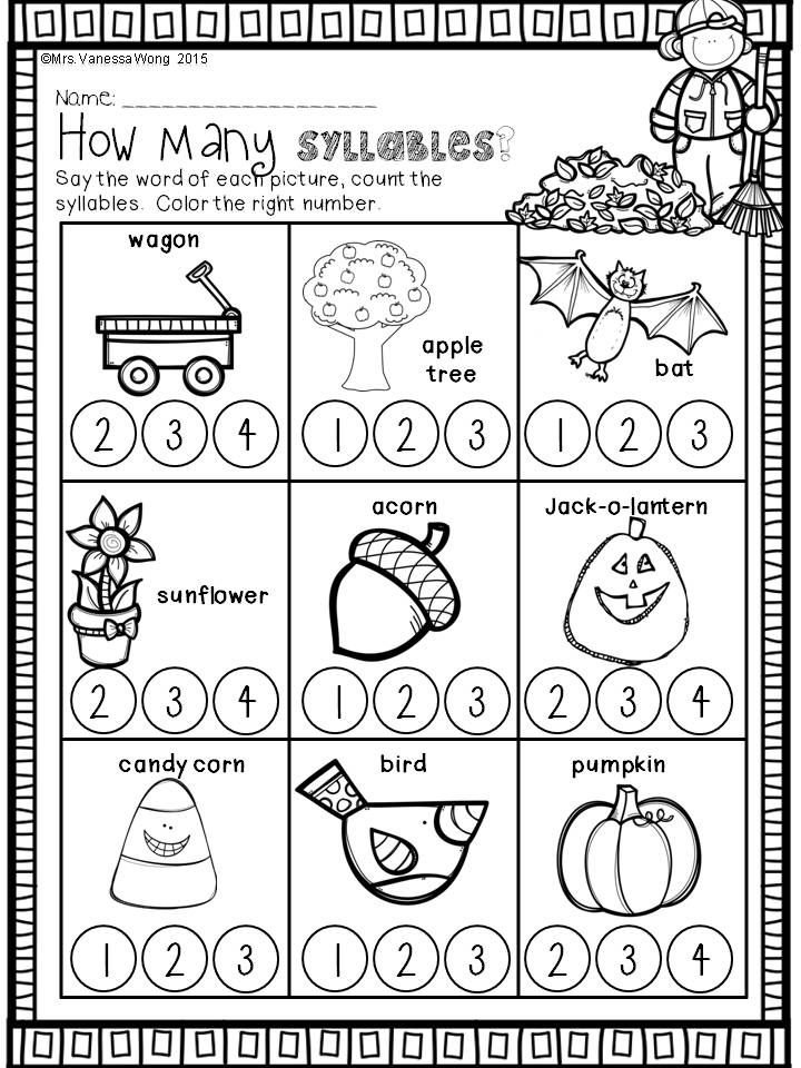 Download free printables at preview. How many syllables. Fall Math and Literacy No Prep - Kindergarten. An excellent pack with a lot of sight word, CVC spelling, vocabulary, word work, reading, fluency and other literacy activities and practice